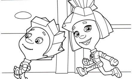 Раскраска Нолик и Симка бегут по рельсам
