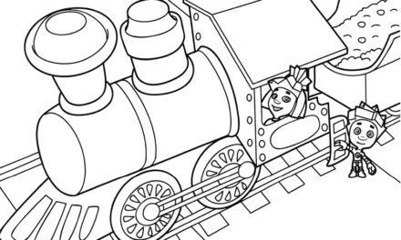 Раскраска Нолик и Симка на паровозе