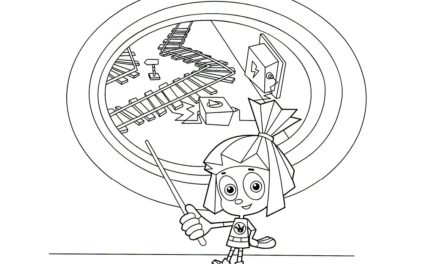 Раскраска Симка и схема железной дороги