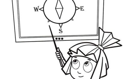 Раскраска Симка и схема компаса