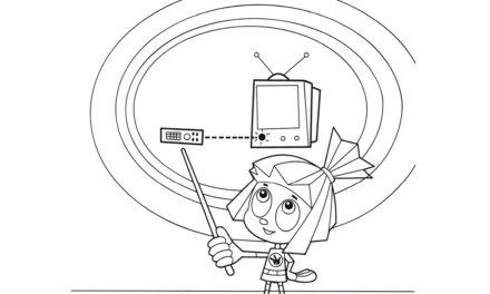 Раскраска Симка объясняет схему с телевизором