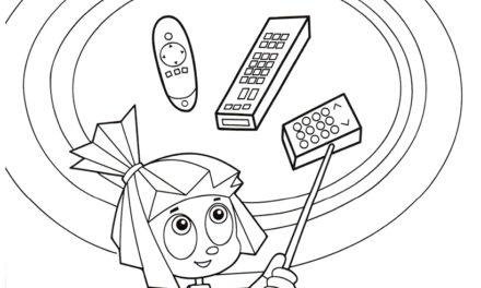 Раскраска Симка и схема с пультом