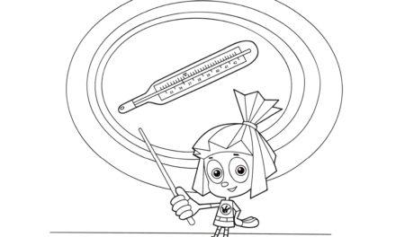 Раскраска Симка и схема термометра
