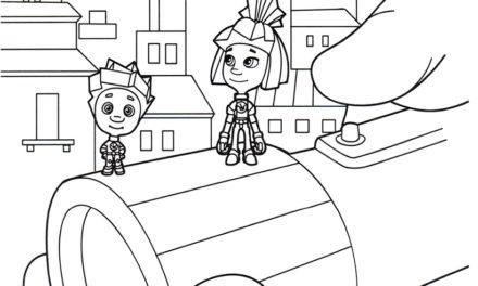 Раскраска Симка и Нолик на фонарике