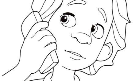 Раскраска ДимДимыч звонит по телефону