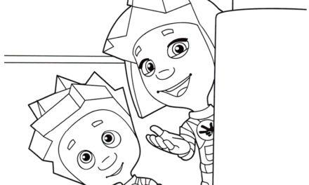 Раскраска Симка и Нолик выглядывают из-за угла