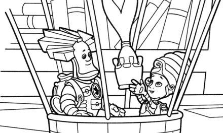 Раскраска Папус и Мася на воздушном шаре