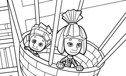 Раскраска Симка и Нолик на воздушном шаре
